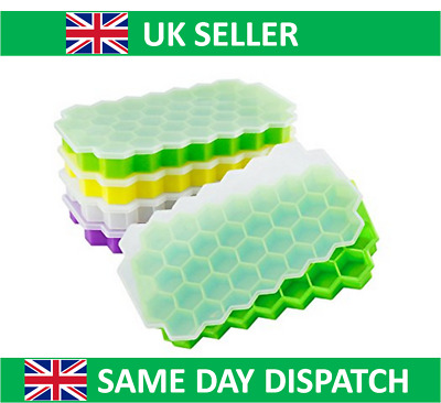 Silicone Flexible Ice Cube Tray Hexagonal 37 per Tray w Lid Baby Puree Hexagon