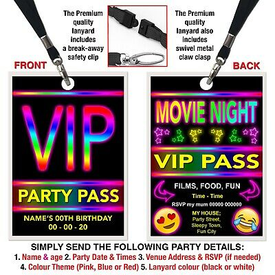 BIRTHDAY PARTY INVITATION LANYARD VIP Pass Emoji Movie Night Party