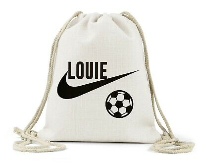 Personalised Drawstring Bag, Boys Football Boots Design, Nursery, Football Gift