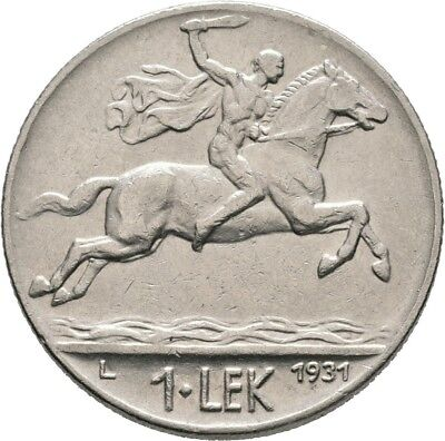 LANZ Albanien Ahmed Bey Zogu 1 Lek 1931 L London Mann Pferd Nickel :MA1258