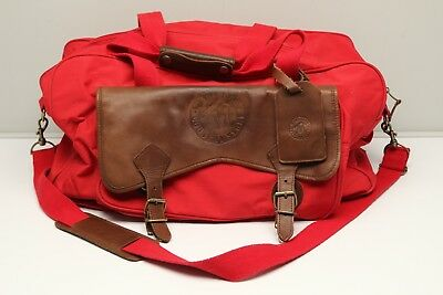 c2d5f3258e93 Marlboro Country Store Nylon Leather Duffle Bag Red Brown Weekend Overnight