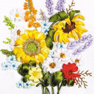 Needlework Ribbon Embroidery Cross Stitch DIY Painting Sunflowers Pattern Crafts