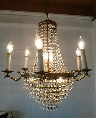 Antique French Imperial 11 Light Ornate Brass Crystal Chandelier
