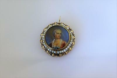 14Kt Gold Antique Seed Pearls Lady Miniature Hand Painted Brooch Pendant Vintage