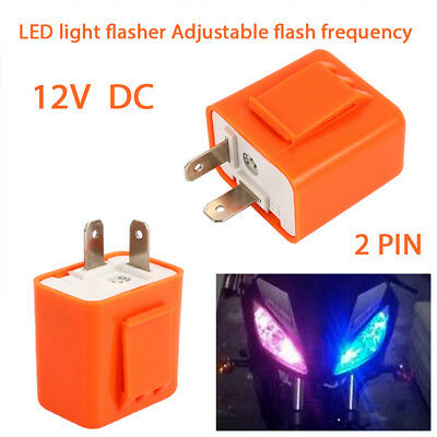 Adjustable Fix Flash Flasher Relay Durable 2Pin LED Indicator Waterproof Speed