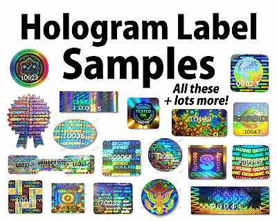 HOLOGRAM Stickers Labels SAMPLES, Security Warranty Original Void Valid Original