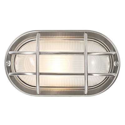 Stainless Steel Cast Aluminium Outdoor Oval Bulkhead Wall Light by Happy Home...