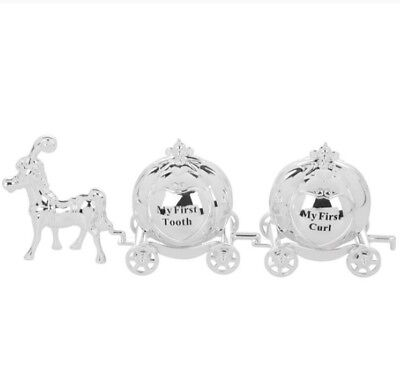 Silver Plated My First Tooth and Curl Set Cinderella Carriage Christening Gift
