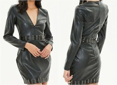 MISSGUIDED Faux leather metal eyelet bodycon dress in black UK 12 US 8 (smg1)