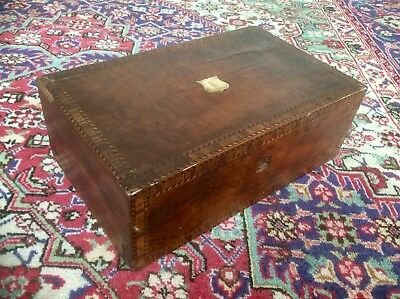 Antique Victorian Wood Writing Slope Box,Brass Escutcheon,Marquetry,Trinket Case
