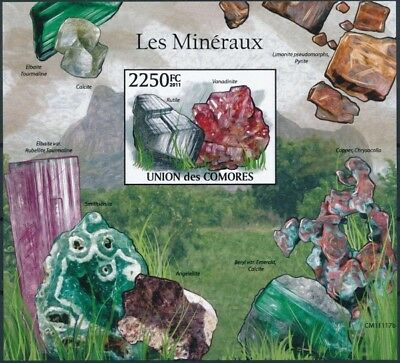 [39288] ND/Imperf- Comores 2011 - BL309, Minéraux, Rutile, Vanadinite.
