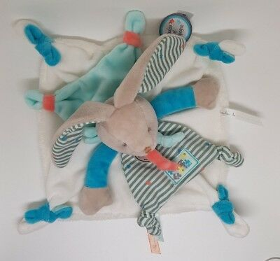 Doudou Et Compagnie Plat Lapin Bleu Blanc Raye Rayure Gris Happy Puzzle Neuf