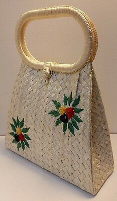 Vintage 50's Embroidered Woven Floral Raffia Hand Bag Purse - Made in Italy
