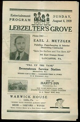 "1939 Lebzelter's Grove ""Black Caricature Quartet"" Program - Lancaster,PA"
