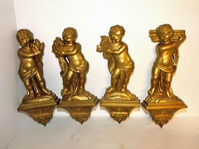 1969 Vintage Set of Four (4) Golden Bronze Colored Syroco Cherub Wall Plaques