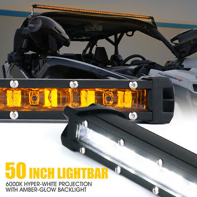 Xprite 50 inch Single Row LED Light Bar Amber Backlight for Chevrolet Jeep Truck