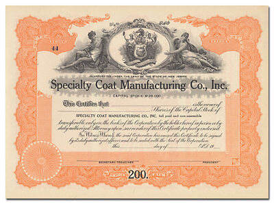 Specialty Coat Manufacturing Co., Inc. Stock Certificate (New Jersey)