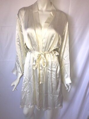 LINDA HARTMAN size L / XL cream color silk robe NEW nwt
