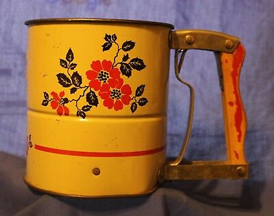 Vintage Androck 3 Screens Hand-i-Sift Flour Sifter Rare Red Poppy pattern  Made
