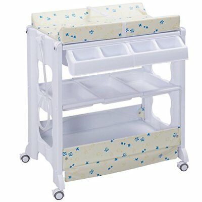 Baby Bath and Changing Table, Diaper Organizer for Infant with Tube & Cushion (B