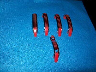 5 Vintage Chrome Drawer Pulls Cabinet Handles RED Lines w Plastic Trim Amerock