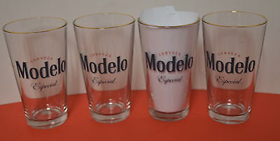 CERVEZA MODELO ESPECIAL 16oz. SET OF 4pcs GOLD RIM BEER PINT GLASSES NEW