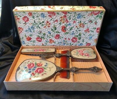 Vintage Collectable Ormolu Petit Point vanity Set Original Box