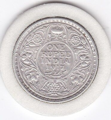 1917  One  Rupee  India - British  Silver Coin