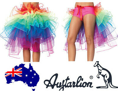 Ladies 8 Layer Rainbow Tutu Skirt Rave Dance Bustle Burlesque great add Costume