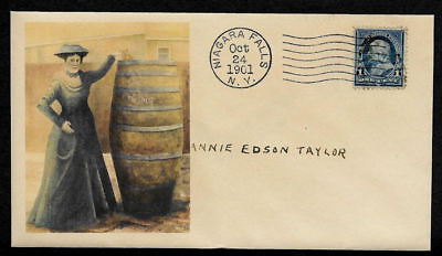 1901 1st Person / Woman Over Niagara Falls in a Barrel Collector Envelope OP1311