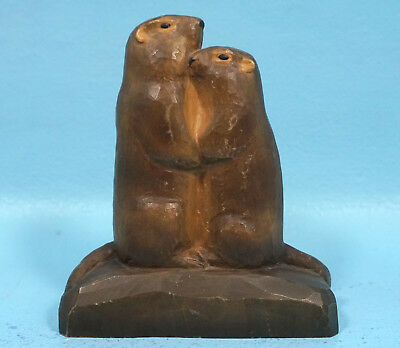 Antique Black Forest Wood Carved MARMOTS HUG Prairie Dogs Brienz c1900 Signed