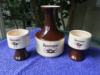 Vintage *renmano* The Winery 1918 Pottery Decanter And Goblet Set~ Elischer Aust