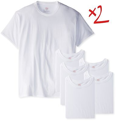 47844e03b64 Hanes Men s Crewneck T-Shirt 12-Pack Mens Short Sleeve TAGLESS ComfortSoft  WHITE