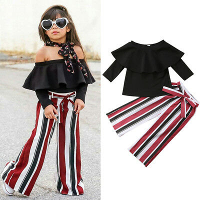 US Stock Toddler Kid Baby Girls Clothes Outfits Long Sleeve Tops +Pants Set 1-6Y
