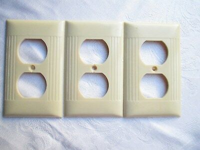 Vintage lot of 3 electrical outlet plate covers, ivory ribbed sierra electric Co