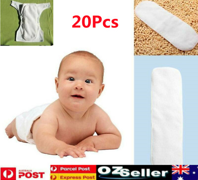 20Pcs Reusable 3 layers Bamboo Inserts Liner for Modern Nappy Cloth Diaper