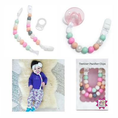 Teether Pacifier Clip 2-Pack Silicone Binky & Soothie Holder, Teething Toy Leash