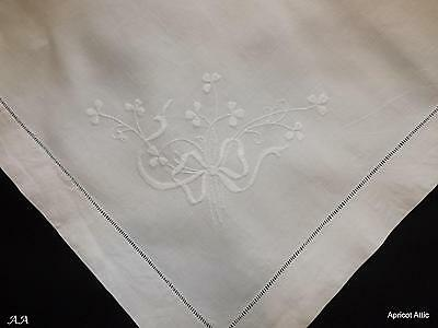 vintage Irish Linen Embroidered White Work Tablecloth Pillow Sham Topper Ribbons