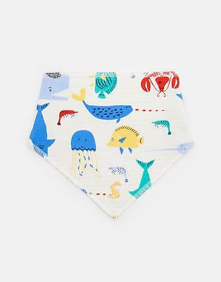 Joules Bibby Reversible Bib in Cream SEA TIME in One Size