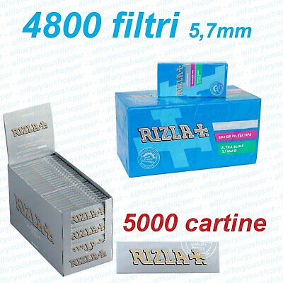5000 Cartine SILVER CORTE + 4800 Filtri ULTRASLIM 5,7mm RIZLA