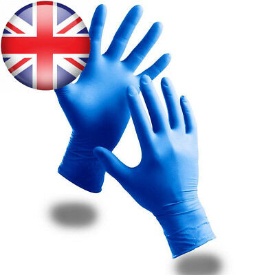 100 Pack Of Strong Powder Free Blue Nitrile Disposable Gloves (Large) -...