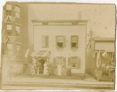 Early Albumen patriotic image 4th of July flags South St. Peepskill N.Y. 1800's