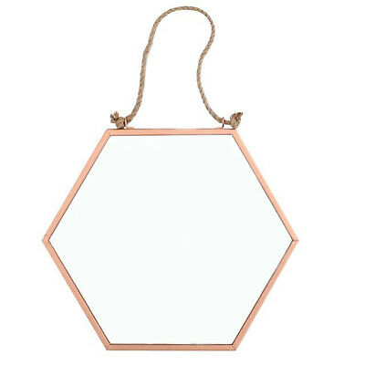 Small Geometric Shabby Chic Copper Metal Mirror Wall Hanging Homewares Gold Gift