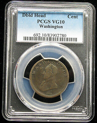 Washington Double Head Cent - Colonial Era Pcgs Vg10
