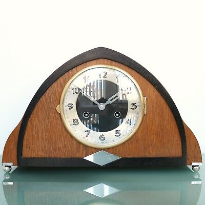 HERMLE Mantel Clock Art Deco Vintage Chrome Germany 3 Bar Chime Mid Century Wood