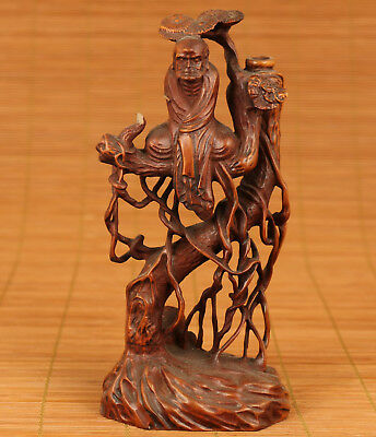 Rare Chinese Old Boxwood Hand microscopic carvings  Damo Buddha Figure Statue