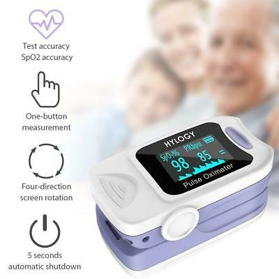 White Pulse Oximeter HD OLED Built-In Gravity Sensor Fast Accurate 360° Rotation
