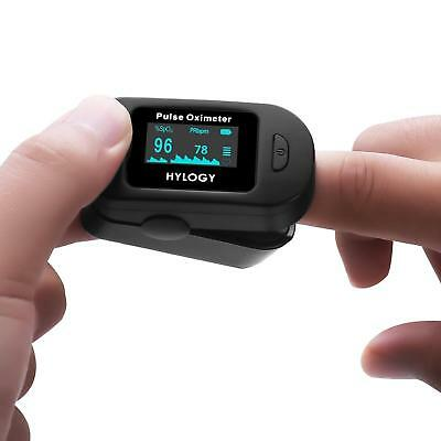 Black Pulse Oximeter Digital OLED Screen Fingertip Single Button Touch Accurate