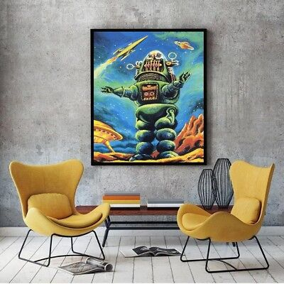 """Large Size 24"""" x 32"""" Robby the Robot Poster - Forbidden Planet 1956 Sci-Fi Icon"""