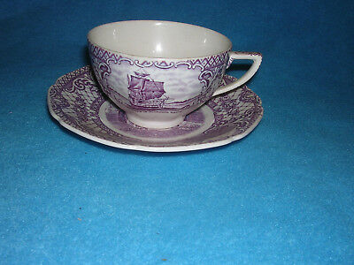Crown Ducal Colonial Times Tea Cup Saucer Pink Red Vintage